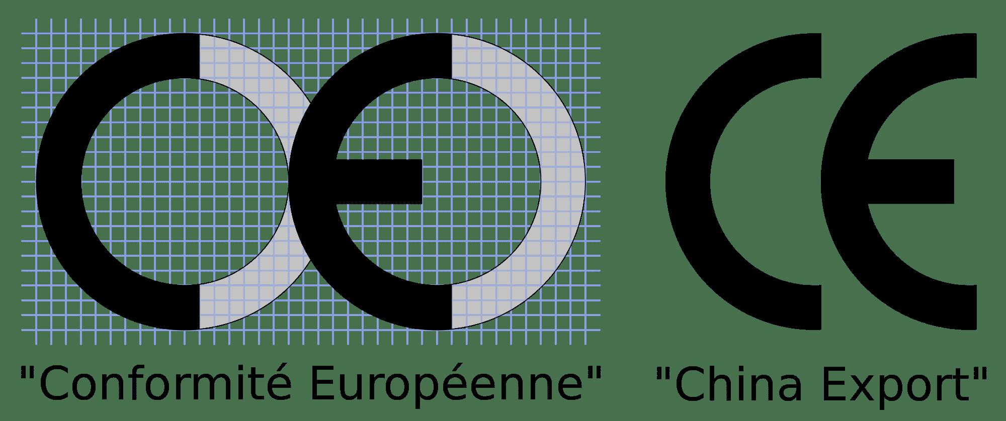 Comparaison label CE et logo China Export